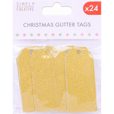 Gold Christmas Glitter Gift Tags 24 Pack image number 1