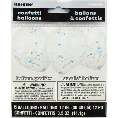 Blue Confetti Balloons - 6 Pack image number 1