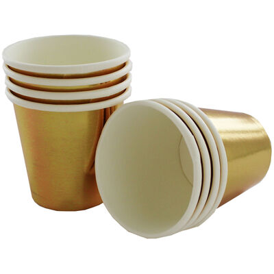 Metallic Gold Mini Paper Shot Glasses - 8 Pack image number 2