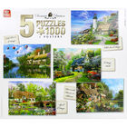Cottage Themed 5-in-1 1000 Piece Jigsaw Puzzle Set image number 2
