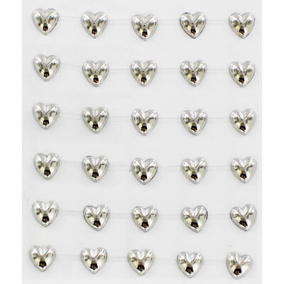 Silver Heart Adhesive Embellishments - 2 Pack image number 2