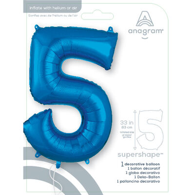34 Inch Blue Number 5 Helium Balloon image number 2