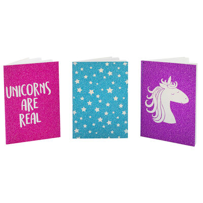 A7 Glitter Unicorn Notebooks - Pack of 3 image number 3