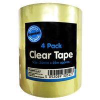 Clear Tape Rolls: Pack of 4