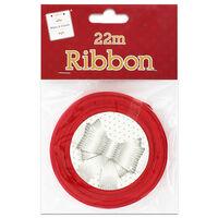 Christmas Red Satin Ribbon 22m