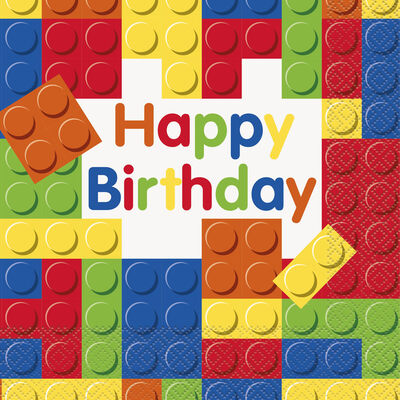 Blocks Happy Birthday Paper Napkins - 16 Pack image number 1