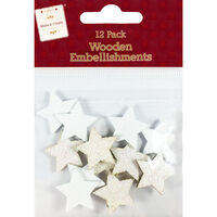 White & Iridescent Wooden Star Embellishments: Pack of 12