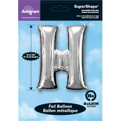 34 Inch Silver Letter H Helium Balloon image number 2