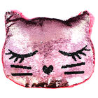 Reversible Sequin Kitten Cushion image number 2