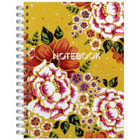 A5 Wiro Yellow Botanicals Notebook