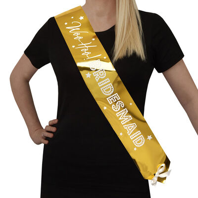 Gold Hen Do Bridesmaid Sashes - 2 Pack image number 2