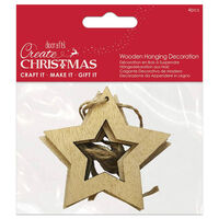 Star Wooden Hanging Decoration: Pack of 4