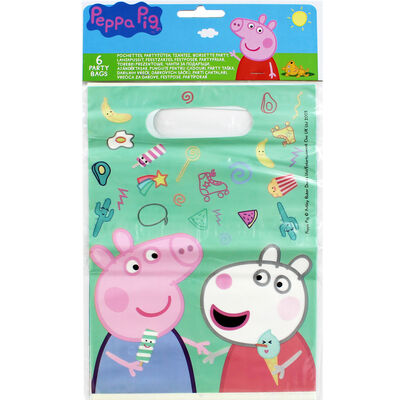 Peppa Pig Plastic Party Bags - 6 Pack image number 1