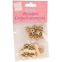 Wooden Butterfly and Heart Embellishments: Pack of 10