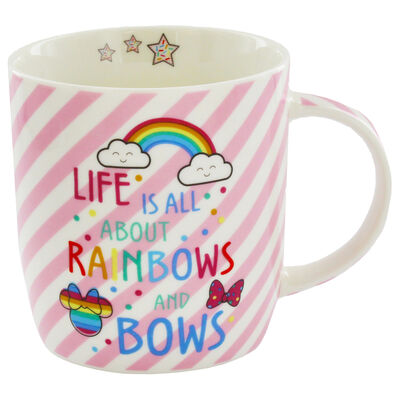 Disney Minnie Mouse Pink Stripe Ceramic Mug image number 2