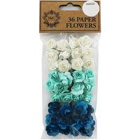 36 Blue Paper Flowers