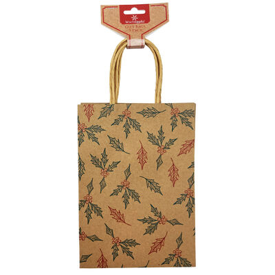Assorted Kraft Small Christmas Gift Bags: Pack of 3 image number 2