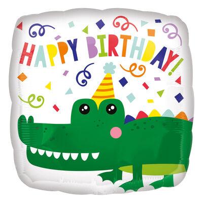 17 Inch Happy Birthday Gator Helium Balloon image number 1