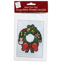 Make Your Own Cross Stitch Card Kit: Wreath