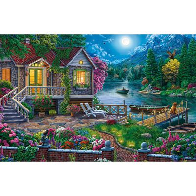 House by the Moonlit Lake 1000 Piece Jigsaw Puzzle image number 2