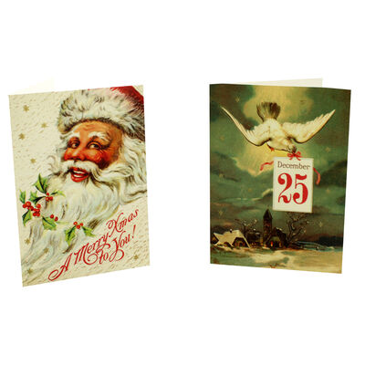 8 Vintage Christmas Cards in Tin - Father Christmas image number 3