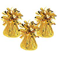 Gold Tinsel Balloon Weights: Pack of 3