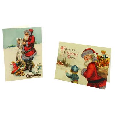 8 Vintage Christmas Cards in Tin - Santa List image number 3