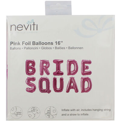 Pink Bride Squad Foil 16 Inch Balloon image number 1