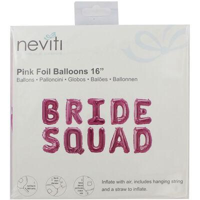 Pink Bride Squad Foil 16 Inch Balloon image number 1