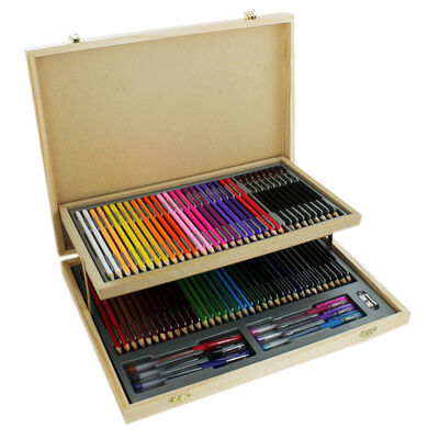 75 Piece Wooden Case Stationery Set image number 1
