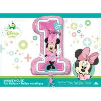 28 Inch Minnie Mouse 1st Birthday Helium Balloon