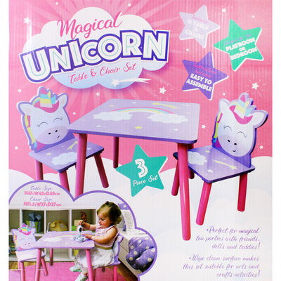 Magical Unicorn Wooden Table and Chairs Set image number 3