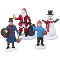 Resin Christmas Character Figurines: Pack of 4