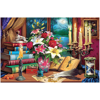 Candlelight Calligraphy 1000 Piece Gold-Foiled Premium Jigsaw Puzzle image number 2