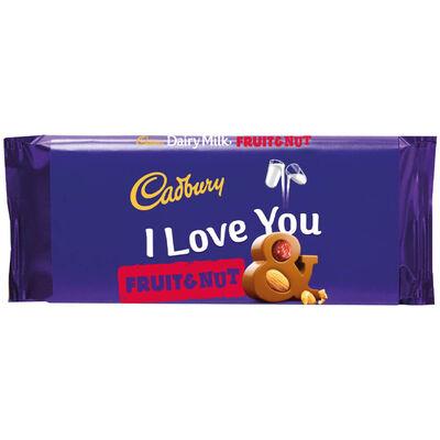 Cadbury Dairy Milk Fruit & Nut Chocolate Bar 110g - I Love You image number 1