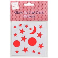Glow In The Dark Moon And Stars Stickers: Red