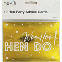 Gold Hen Do Party Advice Cards - 10 Pack