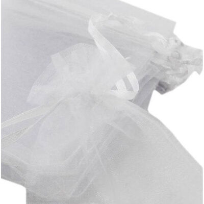 White Organza Bags - Pack Of 8 image number 2