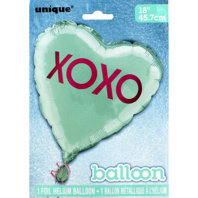 18 Inch Xoxo Teal Heart Foil Helium Balloon image number 2