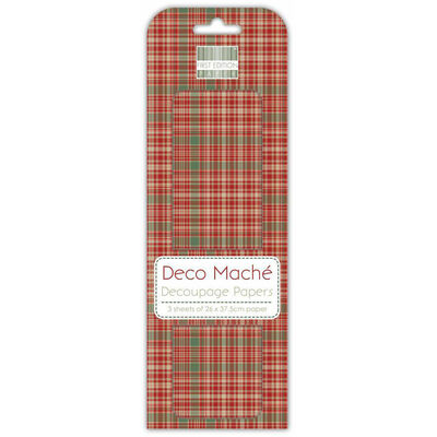 Red Green Tartan Decoupage Papers image number 1