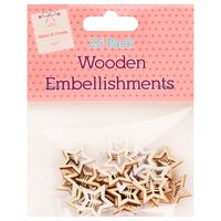 Wooden Star Embellishments: Pack of 25