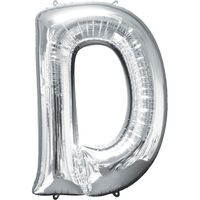 34 Inch Silver Letter D Helium Balloon