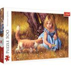 Girl and Kitten 500 Piece Jigsaw Puzzle image number 1