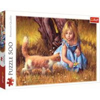 Girl and Kitten 500 Piece Jigsaw Puzzle