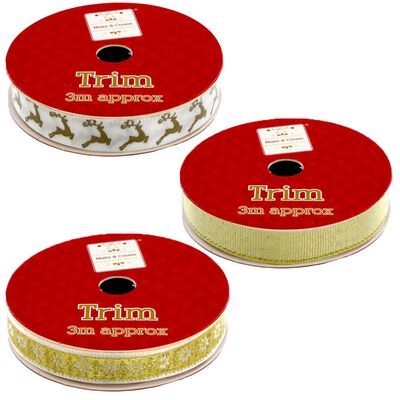 Christmas Ribbon Trim: Assorted 3m image number 4