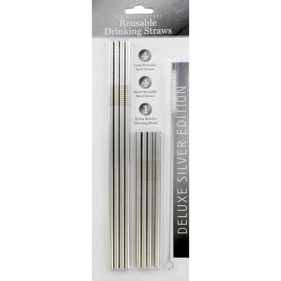 Silver Stainless Steel Reusable Drinking Straws - 8 Pack image number 1