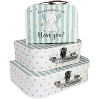 Do You Know How Much I Love You Blue Storage Suitcase: Set Of 3