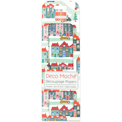 Snowy Houses Decoupage Papers - 3 Sheets image number 1