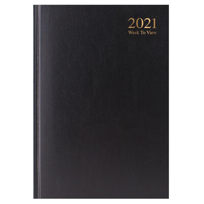 A5 Black 2021 Week To View Diary image number 1
