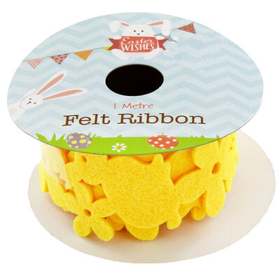 Yellow 1m Felt Easter Bunny Ribbon image number 1